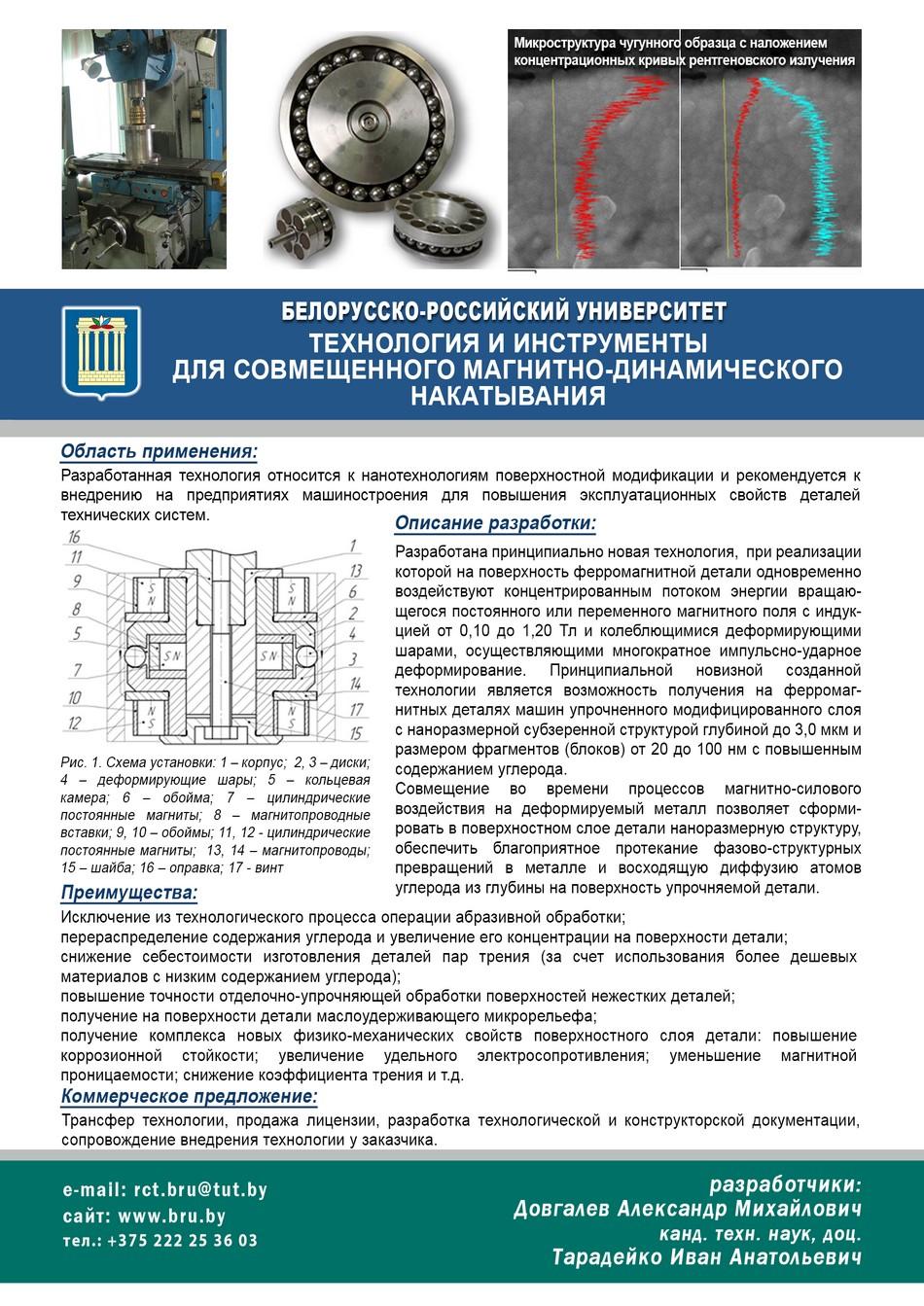 Технология и инструменты для совмещенного магнитно-динамического накатывания